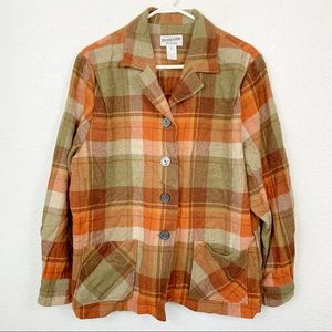 Pendleton Heritage Orange Button Down 100% Wool XL